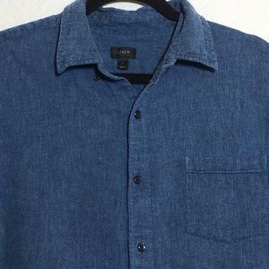 J. Crew Men's Linen Blend Button Up Long Sleeve